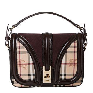 Burberry 3826777 Small Haymarket Suede Panel Crossbody Bag