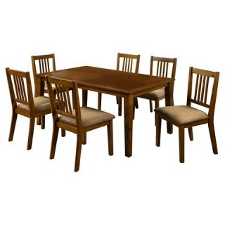 Barred Chair Back Leatherette Padded Side Chair Dining Table Set Wood