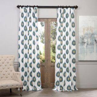 Half Price Drapes Mayan Printed Cotton Rod Pocket Semi Opaque Single Curtain Panel