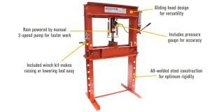 Arcan Hydraulic Shop Press with Gauge and Winch — 50-Ton, Model# CP500  Hydraulic Presses