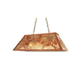 Illumine 6 Light Whispering Pines Oblong Pendant Rust Finish Mica Glass CLI MEY65595