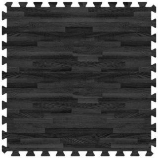 Groovy Mats Black 24 in. x 24 in. Comfortable Wood Grain Mat (100 sq.ft. / Case) GYCWGMBK