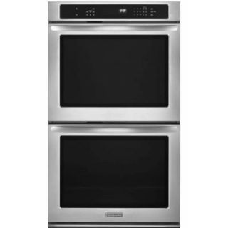 KitchenAid Architect Series II 27 in. Double Electric Wall Oven Self Cleaning with Convection in Stainless Steel KEBS279BSS