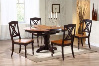 Iconic Furniture 5 Piece Oval Dining Table Set   Whiskey / Mocha   Dining Table Sets