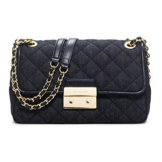 Michael Kors Sloan Dark Denim Large Chain Shoulder Handbag   18598186