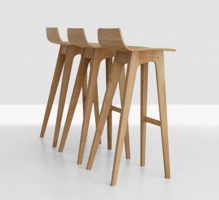 Morph Bar stool   Wood   H 80 cm Oak by Zeitraum