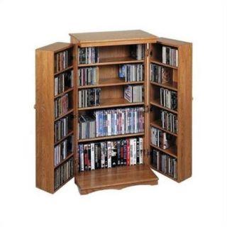 """Leslie Dame 40"""" CD DVD Media Storage Cabinet in Dark Oak"""