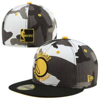 New Era Golden State Warriors Urban Camo 59FIFTY Hardwood Classic Fitted Hat   Black/White