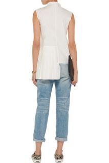 Asymmetric cotton poplin shirt  OAK