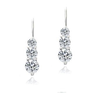 Zirconia Ice Sterling Silver Three Stone Drop Swarovski Zirconia