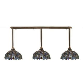 Filament Design Concord 3 Light Black Copper Pendant with Blue Mosaic Tiffany Glass CLI TL5005731