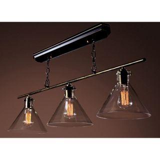 Amerie 3 light Black Island Edison Chandelier with Bulbs   15910317