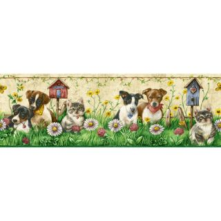 "Sanitas 6 3/4"" Puppies And Kittens Prepasted Wallpaper Border"