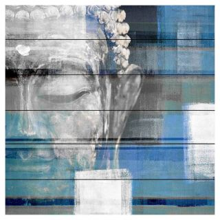 Parvez Taj Blue Buddha Painting Print on White Pine Wood   Wall Art