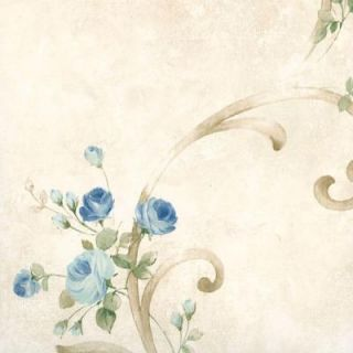 Chesapeake 56.4 sq. ft. Escot Blue Tearose Acanthus Wallpaper MEA77762