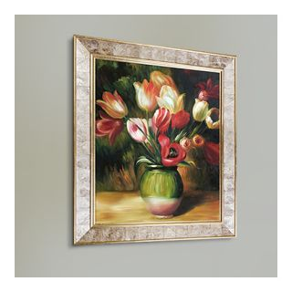 La Pastiche Tulips in a Vase by Renoir Framed Painting Print on Canvas