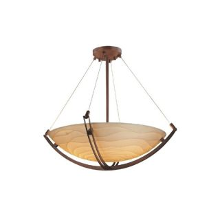Justice Design Group Porcelina Bronze 3 light Crossbar Round Pendant