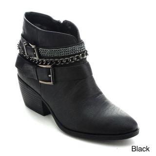 Betani Taylor 2 Women Metallic Chain Buckle Strap Side Zip Stacked