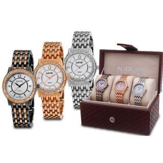August Steiner Womens Dazzling Diamond Bracelet Watch Set   16055758