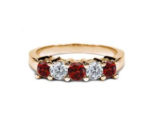 0.94 Ct Round Red Garnet I/J Diamond 14K Yellow Gold Wedding Band Ring