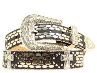 Ariat Western Belt Women Flat Nail Head Cross Concho XL Black A1511401